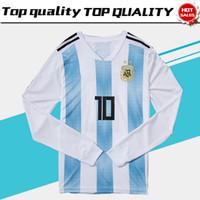 2018 World Cup Long Sleeve Argentina Soccer Jersey 2018 Argentina Home Soccer  Shirt  10 MESSI  19 AGUERO  11 DI MARIA Football Uniform 992e73186