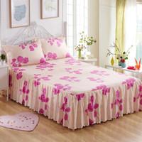 lençóis florais venda por atacado-150x200 cm Floral Fitted lençol capa de saia de algodão colcha de colchão capa de cama de casamento cobre folhas sem fronha