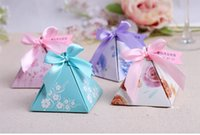 Wholesale Candy Box Pyramids - Floral Pyramid Candy Box Wedding Candy Box Cake Gift Box With Ribbon For Party Favors wen5866