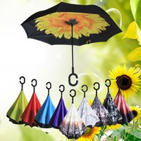 Umbrella Wholesale Store 63 Patterns Sunny Rainy Umbrella Reverse Folding Inverted Umbrellas With C Handle Double Layer Windproof LX4125