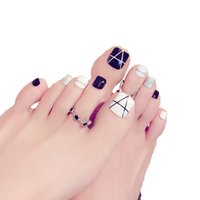 ingrosso piedi di puntamento delle unghie-24 Pcs / Set Foot False Nail Tips Glitter Geometry Printing Fake Toes Nails in bianco e nero di unghia del piede Patch Nail Art Press On Nails