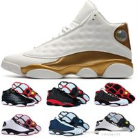 Wholesale Table Cat Box - Best Air Retro 13 Men basketball shoes Low Chutney Navy blue Pure Money Chicago black cat DMP Barons Flint He Got Game Sneakers