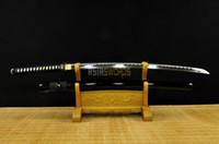 espadas de aço japonês venda por atacado-ESPADA da COLEÇÃO para decorar 100% Artesanal Batalha Pronto Completa Tang T10 1095 Aço Carbono Japonês Samurai Katana Ninja Espada Preta # 1701