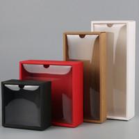 ingrosso sapone rosso bianco-10 pz trasparente coperchio in pvc rosso / bianco / nero / kraft scatola di carta sapone fatto a mano caramelle scatole di biscotti al cioccolato per la festa nuziale avvolgere