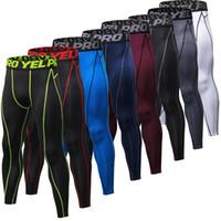 koşu ter toptan satış-Sıcak Satış Erkekler GYM Sıkıştırma Vücut Geliştirme Pantalones Hombre Spor Tayt Pantolon Ter Pantolon Erkekler Için Spor Koşu Tayt