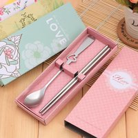 Wholesale love kits - Love Heart Dinnerware Sets Wedding Favor Party Gift Stainless Steel Cutlery Set Tableware Feast Gifts ZA6429