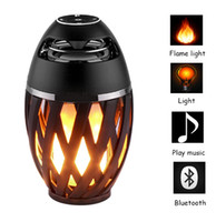 Wholesale Party Mp3 - Led Flame Lights with Bluetooth Speaker Outdoor Portable Led Flame lamp Atmosphere Lamp Stereo Speaker Sound Waterproof Dancing Party