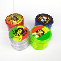 plastik tabakalar toptan satış-4 Katmanlar 60mm Plastik Akrilik Ot Değirmeni Bob Tütün Duman Nargile Nargile için Nargile Cam Boru Su Borusu Rastgele Renk Ücretsiz Kargo