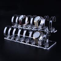 ingrosso visualizzatori acrilici-Espositore multi orologio trasparente Acrilico con elastico Anello C Clip Boutique Contatore Vetrina chiosco da polso Organizzatore Esposizione Prop