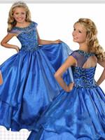 ingrosso migliori abiti da sposa delle ragazze-Migliore vendita Royal blue Girls Pageant Abiti economici Sheer Neck Cap maniche corte Corsetto indietro strass Flower Girl Dresses For Little Girl