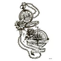 tatuaje de peonias al por mayor-Reloj de bolsillo impermeable tatuajes temporales hombres peonía henna tatoo rouge a levre maquiagem pesca tatuajes temporales pegatinas
