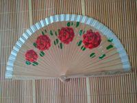 Wholesale spanish paintings resale online - Delicate double face painted spanish wood fan folding hand fan
