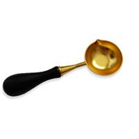cire à cacheter achat en gros de-Cuillère en métal de grande taille Spoon Spoon Poignée en bois Vintage en laiton pour sceller le bâton de cire Wax Stamp