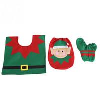 ingrosso decorazioni di compleanno porcellana-3 pezzi / set tessuto non tessuto elemento natalizio coperchio del water coperchio decorazioni natalizie per la casa natale decorazione del bagno