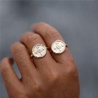 ingrosso martelli d'epoca-2 colori Boho Vintage Hammered Compass Rings per le donne Travel Wanderlust Finger Ring Best Friends Regali di laurea Bague Femme