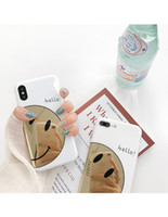 Wholesale korean mobile phone case - Korean wind gilded smile iPhoneX mobile phone shell iPhone8 7plus 6s creative package soft rubber drop