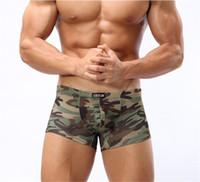 мужское белье оптовых-Европа США тенденция мужчины Марка камуфляж печать смешное нижнее белье мужской тонкий искусственный шелк низкой талией активные дышащие трусы эластичные боксеры