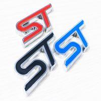ingrosso gli autoadesivi dell'automobile di ford-Metallo 3D ST Logo Chrome Refitting Styling Car Emblem Badge Auto Exterior Decal Sticker 3D Emblem per Ford Focus ST Mondeo