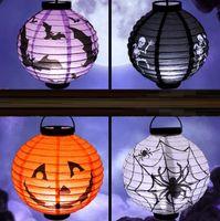 colores claros de calabaza al por mayor-4 colores plegable LED Paper Pumpkin Lantern juguetes Halloween Bat Spider Cráneo al aire libre que cuelga la lámpara de luz YH1367