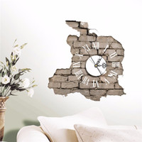 Wholesale gift sets decals resale online - Sticker D Wall Clock Decals Breaking Cracking Wall Sticker Home Wall Decor Gift PVC Plastic Electronic Movement Hot Sale