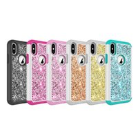 Wholesale Glitter Stickers For Phones - For iPhone X Mobile Phone Case Girly Style Glittering Leather Skin Sticker Hybrid Case Cover for iPhone X