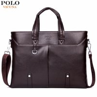 Wholesale Black Polo Large - VICUNA POLO Famous Brand Simple Mens Leather Briefcase Bag Solid Large Business Man Bag Laptop Handbag pasta executiva masculino