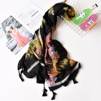 пернатый шарф оптовых-Мода новые женщины перо шаблон качества кисточкой шарф хлопок шарф Шали 5 цветов 10 шт. / лот