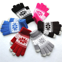 Wholesale warm gloves for women pink for sale - Group buy 201811 Newest Gloves Women Jacquard Touch Screen Gloves Snowflake Maple Leaf Pattern Adult Gloves For Men Winter Warm Glove Styles H919Q