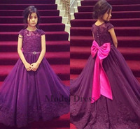 Wholesale big girls evening dresses - Purple Elegant Girls Pageant Dresses A Line Lace Appliques Sheer Neck Formal Kids Evening Gowns for Party 2018 Custom Made Fuchsia Big Bow