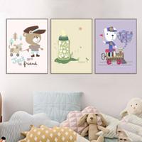 ingrosso pitture animali per bambini-Quadri astratti Cute Animal Wall Sticker Per Bambini Camere Baby Room Decorazione Parete Picture Poster Home Decor Tela Pittura