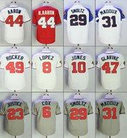 Wholesale White Rocker - Throwback Atlanta 1995 Mens 47 Tom Glavine 44 Hank Aaron 31 Greg Maddux 29 John Smoltz 8 Lopez 49 Rocker Baseball Jerseys Stitched