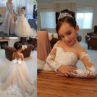 Wholesale Back Covers For Wedding - Princess Sheer Neck Ball Gown Flower Girl Dresses For Wedding 2018 Lace Appliques Long Sleeves Girls Pageant Gowns Back Covered Buttons Bow