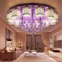 ingrosso cristalli di lampade a soffitto-Cerchio rotondo LED Crystal luce di soffitto per soggiorno camera da letto lampada da soffitto interna Lampadari a LED Illuminazione con telecomando