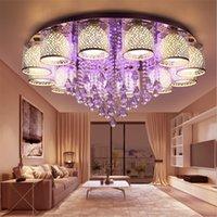 işık saçan daire kristali toptan satış-Daire Yuvarlak Oturma Odası yatak odası Için LED Kristal Tavan Işık Kapalı Tavan Lambası Uzaktan Kumanda ile LED Avizeler Aydınlatma