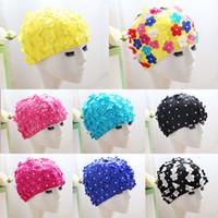 ingrosso disegni petali di fiori-Fashion 3D Petal Cuffie per capelli lunghi Outdoor Swim Donne Fiori Design Cap Delicate Swimmings Hat Many Colors 15hl ZZ