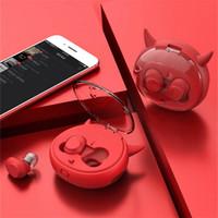 Wholesale devil ears online - Cute Cartoon TWS Earphones Bluetooth Wireless Mini Earphone With Mic Devil Earbuds Earpiece fone de ouvido For Mobile Phone