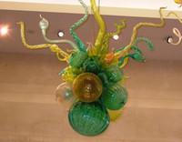 goldkugel deckenleuchte großhandel-Moderne Decke Led Kronleuchter Hauptdekorationen Ball Licht 100% mundgeblasenem Borosilikat Mundgeblasenem Glas Kronleuchter Beleuchtung
