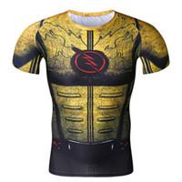 Wholesale Reverse Flash - Cosplay Costume Reverse Flash Superhero 3D Printed T-Shirt Men's Short Sleeve Compression Shirt Raglan Clothing Fitne