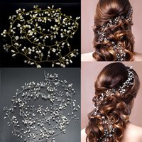 Wholesale bridal gold hair chains for sale - Group buy Handmade CM Lenght Gold and Silver Flower Vine Tiara Bride Head Chain Bridal Hair Ornaments Wedding Hair Jewelry Accessories