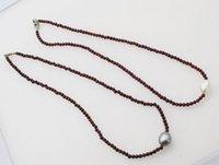 ingrosso collane di perle di granato-perla d'acqua dolce barocca e granato rosso 3mm collana perline all'ingrosso 16.5inch natura FPPJ donna 2018
