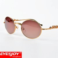 Wholesale Full Leopard - Gold retro round Diamond Sunglasses Brands for Women Men Luxury Three-dimensional Leopard Brand Designer sunglasses With Box CT638408282