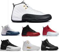 chaussures de basket rouges pour hommes achat en gros de-Nike jordan Haute Qualité 12 12 s OVO Blanc Gym Rouge Foncé Gris Basketball Chaussures Hommes Femmes Taxi Bleu Suede Grippe Jeu CNY Sneakers Taille 36-47