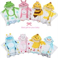Wholesale Beach Towel White Orange - Hot sale 100% Cotton Baby Beach Gown Child Bathrobe Beach Towels Cloak Cape Infant Cartoon Animal Hooded Baby Bath Towel