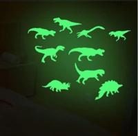 Wholesale 3d dinosaur wall resale online - Glow In The Dark Dinosaurs Stickers Luminous Cartoon Dinosaur Wall Stickers Baby Kid Room Noctilucan Toy OOA5804