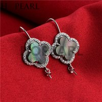 Wholesale earwire earrings - Hook Earring Settings 925 Sterling Silver Black Shell Surrounded by Zircons Earwire Mountings for Pearl Party
