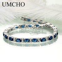ingrosso bracciale ovale in zaffiro-UMCHO Reale 925 gioielli in argento sterling ovale creato Nano Blue Sapphire Braccialetto Braccialetti di fascino romantico per le donne regali