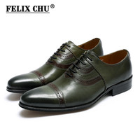 мужская кожаная кожаная обувь оптовых-FELIX CHU  Classic Genuine Leather Man Cap Toe Pointed Green Oxfords Lace Up Wedding Party Mens Street Style Dress Shoes
