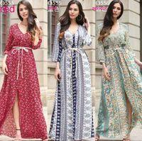 Wholesale ladies chiffon style dresses - New Euro Style women clothes V neck Chiffon Flower Print dress lady casual long sleeve swing beach Split dress