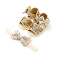 0a2cfdfdf16b3 INS Newborn Princess Baby Girls Sparkle Bling Sequin Soft Breathable Lovely  Infant Prewalker+big Bowknot Decorate Headband