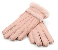 Wholesale ladies leather gloves - 50Pair Women Warm Woolen Mittens Women Gloves Real Leather Wool Fur Gloves Lovely Girl Sheepskin Leather For Lady